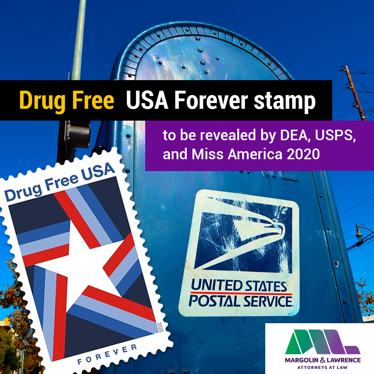 DEA, USPS, and Miss America 2020 to reveal Drug Free USA Forever stamp