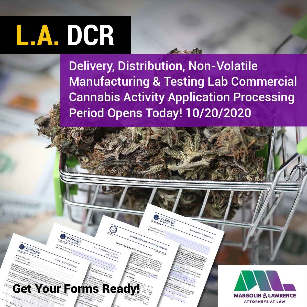Delivery, Distribution, Non-Volatile Manufacturing and Testing Lab Commercial Cannabis Activity Application Processing Opens Today 10/20/2020 (Forms)